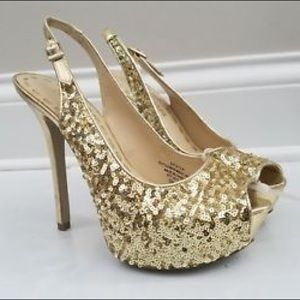 Enzo Angiolini Shoes - Enzo Angiolini Gold Sequin Platform Heels